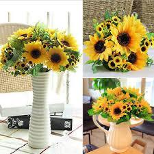 Cafe Home Decor Sunflower Flower Fake Silk Artificial 14 Heads Bouquet Garden Cafe