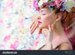 beautiful romantic young woman wreath flowers stock photo