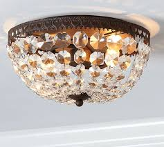 Mia Faceted Crystal Flushmount Pottery Barn Bathroom Flush Mount Light Fixtures