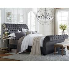 Iron Sleigh Bed Bedding Decorative Upholstered Sleigh Bed