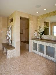 marble tile bathroom with open shower this master bathroom