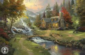 Best Paintings by Thomas Kinkade Mountain Paradise Painting Best Paintings For Sale