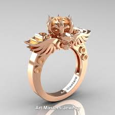 morganite engagement ring gold masters jewelry winged skull 14k gold 1 0 ct morganite