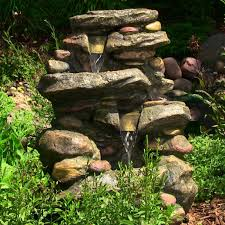 water fountain stone falls with led light outdoor backyard for