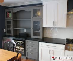 wet bar in a gray painted finish stands out from the white