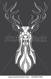 stylized portrait deer forest animals stock vector 479694769