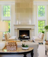 rustic limestone fireplace with zen living room contemporary and