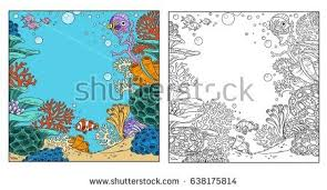 underwater corals anemones fish coloring stock vector