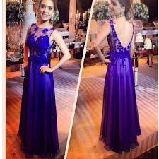 2017 royal blue lace elegant for teens open back evening prom gown