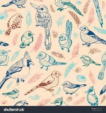 seamless pattern cartoon birds on pink stock vector 562403371
