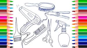 how to draw accessories for hair coloring pages set barber