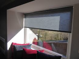 grey roller shades textured linen in charcoal installed