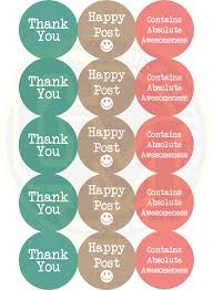 thank you happy post stickers classic pastel colours 50mm round