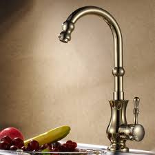 Polished Brass Kitchen Faucets by Antique Golden Rotate European Style Brass Kitchen Faucets