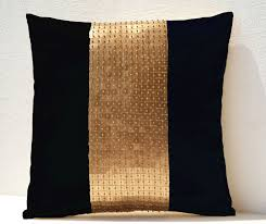 cushion covers for sofa pillows throw pillow covers black gold color block in silk and sequin