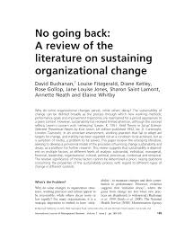 no going back a review of the literature on sustaining