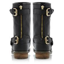 mens black leather biker boots steve madden energize sm gold buckle biker boots in black lyst