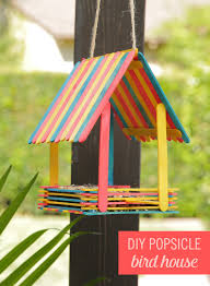 turn popsicles into an adorable bird house bird houses