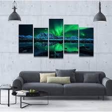 chambre de d馗ompression 5 panneaux hd imprimé vert peinture impression sur toile