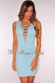 ice blue lace up sleeveless dress