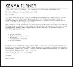 technical support manager cover letter sample livecareer