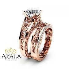 Wedding Rings Rose Gold by Rose Gold Moissanite Engagement Ring Set Unique 2 Carat Moissanite