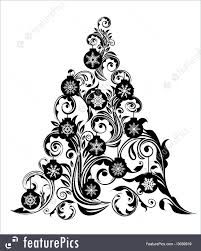 holidays christmas tree with leaf swirls design and ornaments