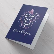 personalised thank you card butterflies from 99p