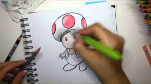 drawing toad super mario watercolor pencils