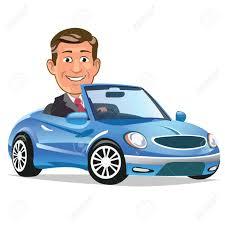 cartoon convertible car blue car clipart person clipart