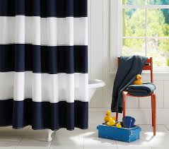 Rugby Stripe Curtains Rugby Shower Curtain Pottery Barn