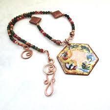 gemstone necklace pendant images Large hexagonal pendant enamel on copper colorful gemstone jpg