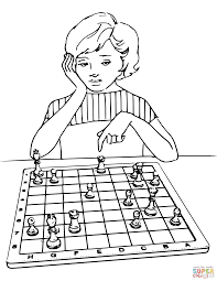 playing chess coloring page free printable coloring pages