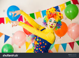 two cheerful clowns birthday children bright stock photo two cheerful clowns birthday children bright stock photo 742263730