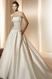 wedding dress ivory handmade beading top strapless matte satin ivory gown wedding