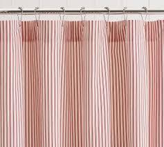 Ticking Stripe Curtains Ticking Stripe Ruffle Shower Curtain Pottery Barn