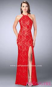 open back la femme long lace prom dress promgirl