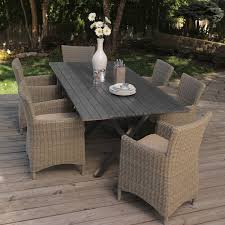 Rattan Patio Dining Set All Weather Wicker Patio Dining Set Seats 6 Outdoor