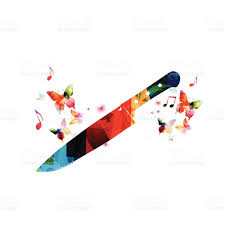 colorful kitchen knife design with butterflies stock vector art