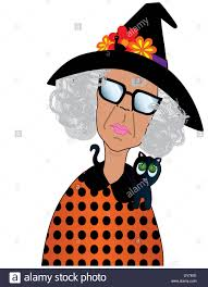 fun cartoon of a grumpy old lady dress for halloween with a black