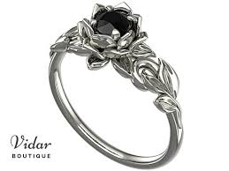 engagement rings flower images Lotus flower black diamond engagement ring with leaves vidar jpg