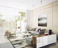 deco avec canapé gris design interieur decoration salon tapis motifs géométriques beige