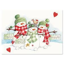 snowmen trio religious christmas cards current catalog