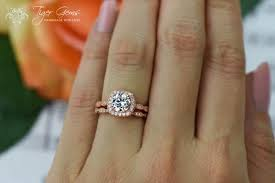 silver engagement ring gold wedding band 1 25 carat halo wedding set vintage style bridal rings made