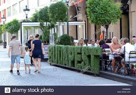 the word u0027budapest u0027 made of green letters stands in front of the