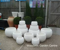 large round white terrazzo pots planters woodside garden centre