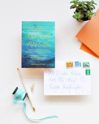 Wedding Invitations Miami Watercolor Gold Foil Wedding Invitations