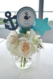 centerpiece for baby shower a boy s whale themed baby shower spaceships and laser beams