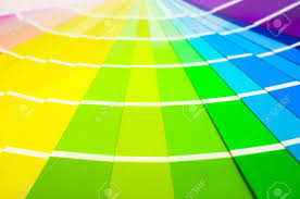 colour spectrum swatch cards choosing paint colours stock photo