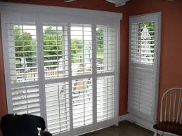 Sliding Shutters For Patio Doors White Wooden Sliding Patio Door With Glass Inside And Bars Blinds